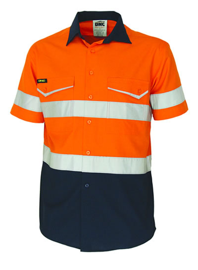 3587 Two-Tone RipStop Cotton Shirt with CSR Reflective Tape Short Sleeve