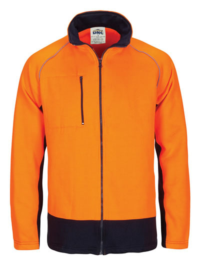 3725 Hi Vis Two Tone Full Zip Fleece Sweat Shirt with Two Side Zipped Pockets