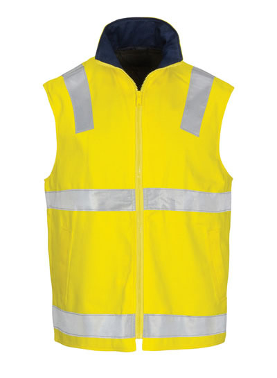 3765 Hi Vis Cotton Drill Reversible Vest with Generic R/Tape