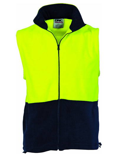 3828 Hi Vis Two Tone Full Zip Polar Fleece Vest