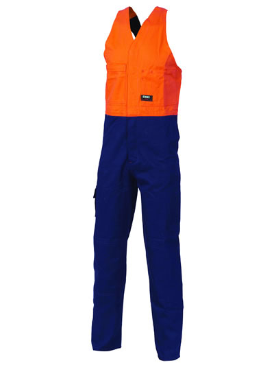 3853 Hi Vis Two Tone Cotton Action Back Overall