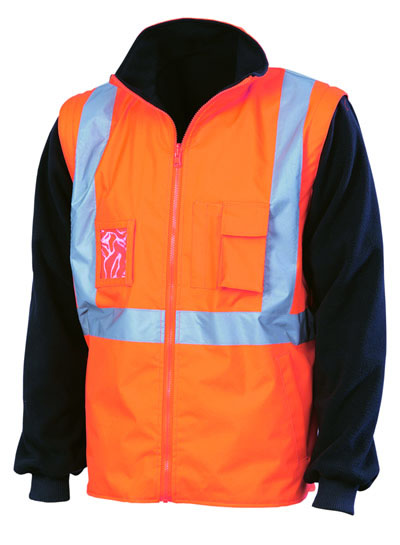 3990 Hi Vis 4 in1 Zip Off Sleeve Reversable Vest, X Back with additional tape on Tail