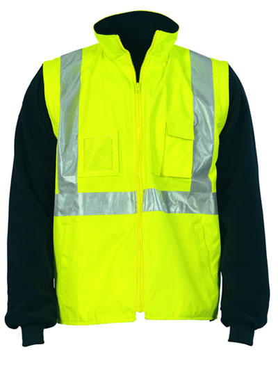 3994 Hi Vis Cross Back D/N 4 in1 Zip Off Sleeve Reversible Vest